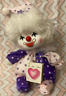 Vintage 1986 Poter Wind Up Musical Clown Jester Intact Hang Tag Pink  Purple