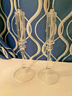 Glass Candlesticks Perpetual Candle Oil Lamps w Holders Clear w Faux Wax Drips