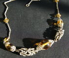 Vintage Art Deco Jakob Bengel yellow glass and chrome necklace 1920s
