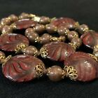 Vtg MURANO Red Pulled Feather Aventurine Coin Tabular Venetian Glass Necklace