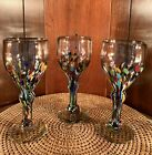 Mexican Art Glass Confetti Wine Water Goblets Glasses Lot Of 3 EXC