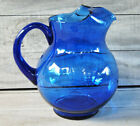 Crown Corning Cobalt Blue Glass Pitcher Ball Balloon Style Large Water Ice Lip