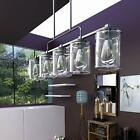 5 Lights Kitchen Island Hanging Lights Linear Lighting Clear Glass Lampshades