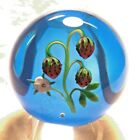 Stunning Baccarat Ripe Strawberries and Flowers Glass Paperweight