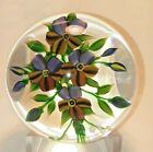 Beautiful Debbie Tarsitano Flowers and Pussy Willows Bouquet Glass Paperweight