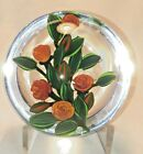 Beautiful Colin Richardson Spray of Orange Red Roses Glass Paperweight