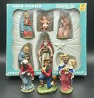 Vintage Unbreakable Nativity Set Bavarian Forest Germany Hand Painted + Extras