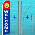 WELCOME FLUTTER FLAG + POLE MOUNT KIT Tall Curved Swooper Feather Banner Sign