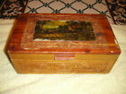 Antique Dovetail Wood Trinket Box w/ Mirror and Picture