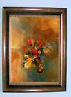 Redon Girls profile with Flowers - Art Brown Framed Canvas M 25x31