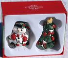 3-D FITZ and FLOYD Snowman and Christmas Tree Salt & Pepper Shakers - NEW in Box