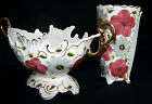 PORTUGAL POTTERY VTG SET, COMPOTE / FRUIT BOWL& VASE NUMBERED PEREIRAS VALADO