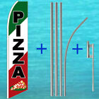 PIZZA FLUTTER FLAG + POLE MOUNT KIT Tall Curved Advertising Sign Feather Banner