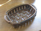 PARMENTIER ceramic woven dish brown marked modern fruit bowl