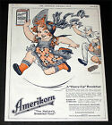 1919 OLD MAGAZINE PRINT AD, AMERIKORN, STRAWBERRY SHORTCAKE, CHILDREN WANT IT!