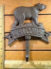 BEAR WELCOME SIGN HOOK rustic cast iron 7-1/2