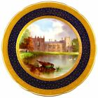 Antique Minton Porcelain Hand Painted Plate Cobalt / Gold England Newstead Abbey