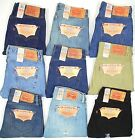 Levis 501 Button Fly Mens Jeans Original Dark Blue Black Tan Many Sizes NEW
