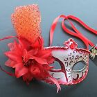 Red Floral Venetian Masquerade Mask Party Prom Wedding Halloween Costume