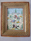 PERSIAN VINTAGE MINIATURE EPOS SHAHNAMEH HAND PAINTED ON PLASTIC IN ORIG.FRAME
