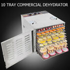 Stainless Steel Commercial Dehydrator Food Fruit Jerky Dryer 10 Tray Blower