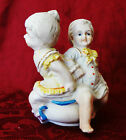 Bisque Figurine Antique Boy Girl Sitting On Chamber Pot Occupied Japan  40s