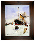 Dixon RMS Olympic leaving Southampton - Rustic Brown Framed Canvas Art M 25x31
