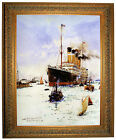 Dixon RMS Olympic leaving Southampton - Ornate Gold Framed Canvas Art M 25x31