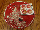 Set/ 4 Christmas Northwood Cottage 222 Fifth Dessert  Snack Appetizer Plates NEW