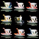 Stunning Ceramic Peacock Feathers Coffee Tea Set Cup/Saucer Christmas Gift Party