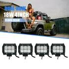 4PCS 4 18W CREE Flood Spot LED Work Light Bar Offroad Car 4WD Boat ATV 36W 120W