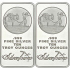 SPECIAL PRICE!! SilverTowne Logo 10oz .999 Fine Silver Bar LOT OF 2