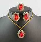 2014 beauty fashion green/blue/black/purple/red necklace ring and earrings set