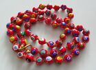 Vtg RARE Venetian Millefiori Italy Glass Beads Murano Red Necklace Hard to find
