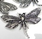 5 Antiqe Silver Pewter Dragonfly Focal Link Pendant Charms 30x49mm