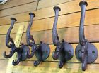 4 Coat Hooks Hat Wall 6x2-1/2 rustic cast iron hanger antique style brown