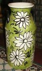 Superb Spain Ceramic Pottery Vintage Milk Container-Painted Flowers-Green-Large