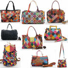 Multicolour Real Leather Patchwork Woven Handbag Shoulder Bag Vintage Cross Body