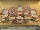 Gorgeous Antique French 21 pc Hand Painted Pink White Gold Tea Cup