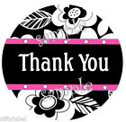 BLACK  WHITE FLORAL PRINT PINK TRIM 2 THANK YOU STICKER LABELS LASER PRINTED