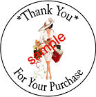 SHOPPING LADY 23 LARGE ROUND THANK YOU STICKERS