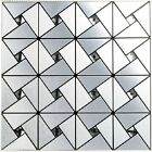 5 sq.ft/lot silver backsplash kitchen bathroom wall tile adhesive metal tiles