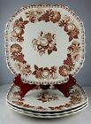 4 Copeland Spode Transferware Earthenware Sq Luncheon Plates Brown Fruit Floral