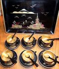 Mid-Century Vintage Japan Black Lacquer Tea Set Aizu Style~Cups~Spoons~Tray