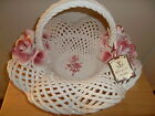 Rare Vintage Capodimonte Basket With Roses Porcelain From Italy