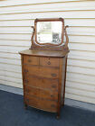 53569 ANTIQUE BOW FRONT OAK HIGH CHEST WITH MIRROR