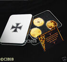 3x 1 OZ GOLD PLATED COIN SET GERMAN NOT NAZI IRON CROSS WW1 WW2 METAL BOX RARE!