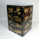 F619: REAL OLD Japanese lacquer ware tiered food boxes JUBAKO w/Shellfish MAKIE.