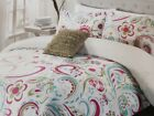 CYNTHIA ROWLEY FULL/QUEEN PINK GREEN BLUE FLORAL PAISLEY SWIRL 4PC COMFORTER SET