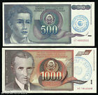 Bosnia - SET 2 notes - P 1b 2b - 500 1000 Dinara - STAMPED 1992 EMERGENCY ISSUE